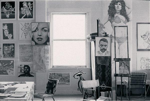 Interior of studio, 1978. Image courtesy of John Valadez.