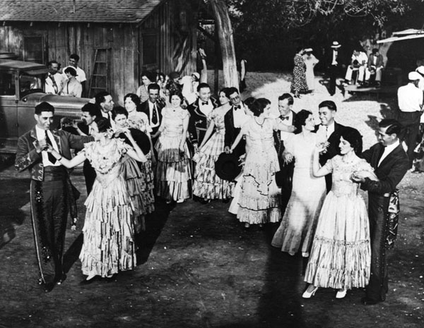 A gathering of the El Recuerdo Club, a social club, for Spanish dancing at the Lugo home at Rancho San Antonio. Photo courtesy of the Los Angeles Public Library