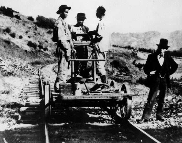 Chinese laborers on a handcart on the Southern Pacific Railway, connecting San Francisco to Los Angeles, ca. 1876. Photo courtesy of LAPL.