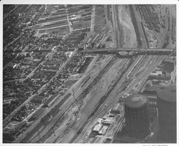 Aerial view of the Los Angeles River. Photo by Dick Whittington Studio. Photo courtesy USC Digital Libraries