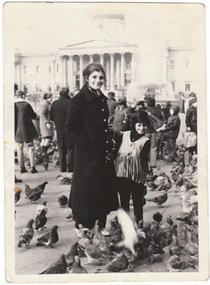 Meena Nanji, in London, with her mom and some of the many pigeons of Trafalgar Square