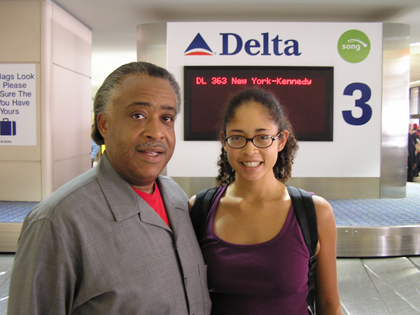 When Charisse L'Pree Corsbie-Massay left New York for LA, the Rev. Al Sharpton happened to be on the same flight. Photo courtesy Charisse L'Pree Corsbie-Massay