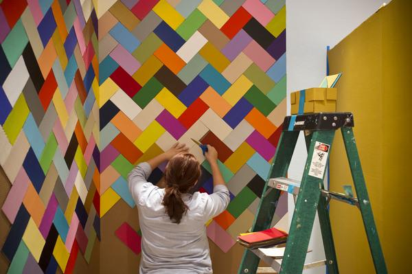 Ana Serrano constructing portion of Salon of Beauty  I Photo by Nash Baker for Rice Gallery