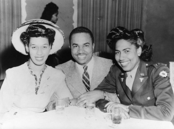 Ruth Davis, William Love, and Bernice Patton (RN, 2nd Lt. Army) at Shepp's Playhouse | Photo from Shades of L.A. collection, courtesy of Los Angeles Public Library