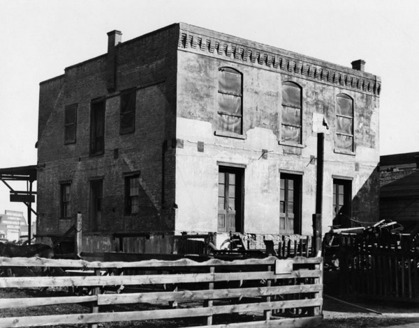 Exterior view of the old French Consulate at 445 East Aliso Street, once the finest brick structure in Los Angeles | Courtesy of the Los Angeles Public Library