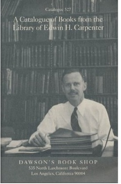 Dr. Carpenter on cover of catalog of his books for sale by Dawson's Book Shop