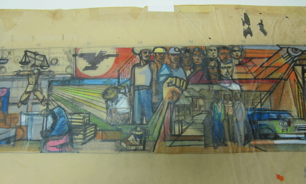 Sketch of early chicano mural discovered kcet for America tropical mural