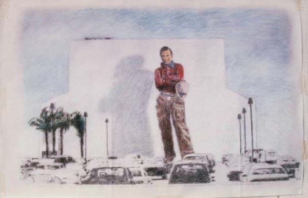 Early draft of WIll Rogers as a solo mural act I Courtesy Kent Twitchell