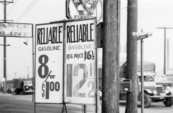 Gas prices ca. 1941 | Courtesy of the Los Angeles Public LIbrary