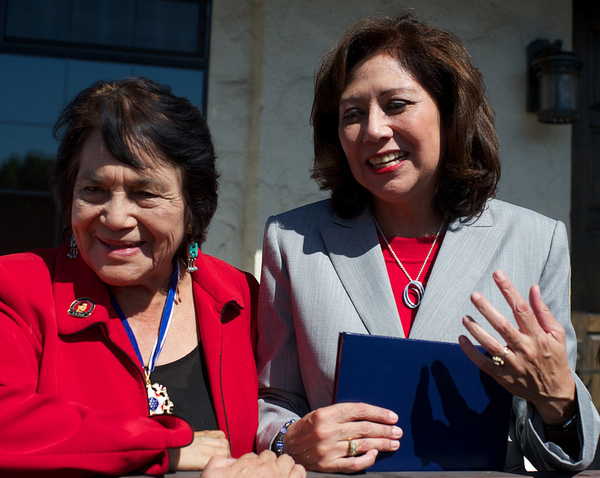 Dolores Huerta and Secretary of Labor Hilda Solis | Photo by Robert Garcia/The City Project