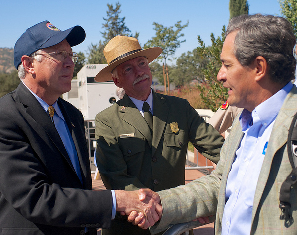Secretary of the Interior Ken Salazar, National Park Service Director Jon Jarvis, and Robert Garcia | Photo by Sam Garcia/The City Project