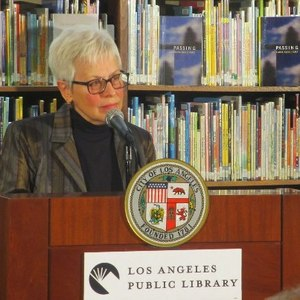Eloise Klein Healy at the L.A. Public Library where she was named the city's first Poet Laureate | Photo from LAPL Facebook