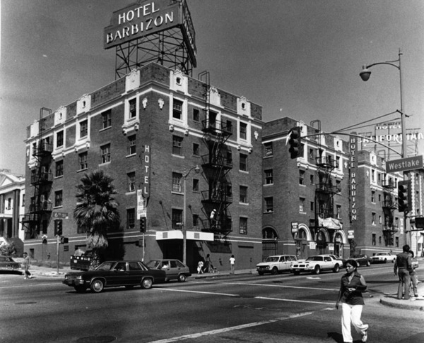 Neighboring Hotel Barbizon in the 1970s, with Hotel Californian sign in the background | Courtesy of the Los Angeles Public Library