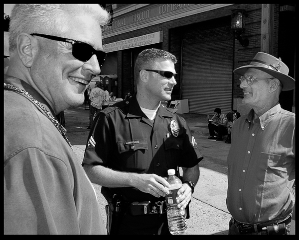 Huell, LAPD Kris Werner, and Joel Bloom at Biscuit Loft, April 2007 | Photo by Ed Fuentes
