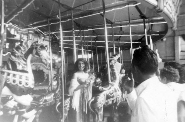 Enjoying the merry-go-round in 1950 | Shades of L.A. Collection, Courtesy of the Los Angeles Public Library
