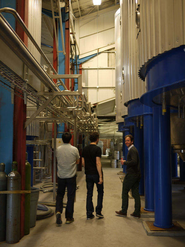 On tour of the massive space of the brewery with several beer fermentation tanks | Photo by George Villanueva
