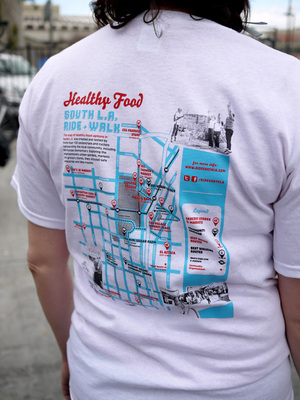 Healthy Food South L.A. map printed on shirts | Photo by George Villanueva