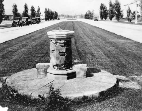 Sundial with a pedestal of brick from Mission San Juan Capistrano, 1927 | Herald-Examiner Collection, courtesy of the Los Angeles Public Library