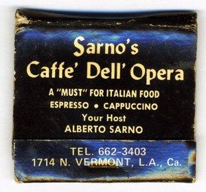 Caffe dell 'Opera matchbook | Sarno Pasticceria Facebook Group