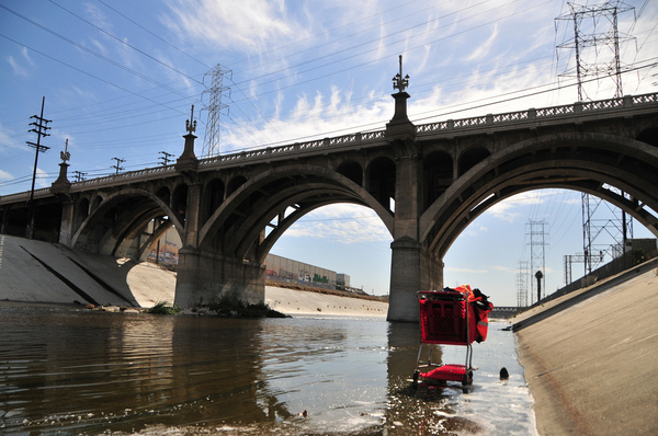 The L.A. River as it runs through Downtown L.A. | Photo by Justin Cram/KCET Departures