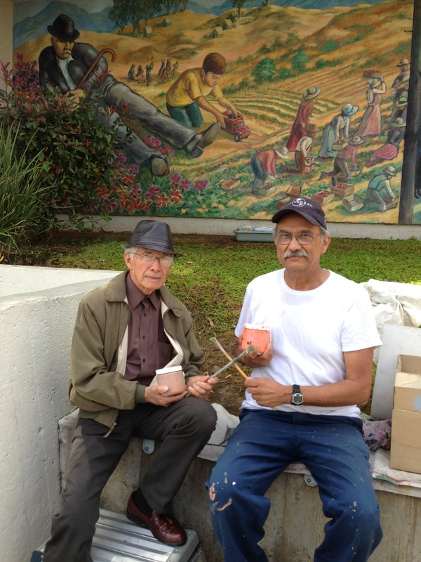 Richard Haro visits David Botello at the Maravilla Mural, May 2013 I Photo: Clare Haggarty, LA County Arts Commission