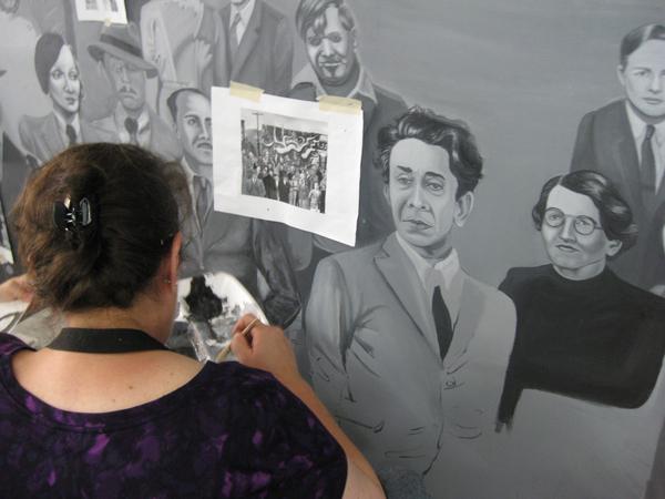 Barbara Carrasco working on detail of Siqueiros