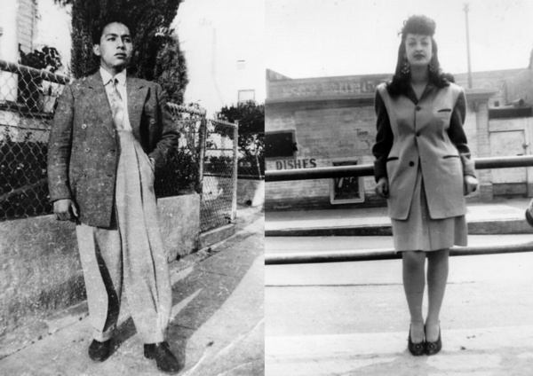 Left: ''Manuel Ybarra in zoot suit, 1942.'' Right: ''Josie is wearing her zoot suit while waiting for the Red Car at E. 41st St. and Long Beach Ave. in Los Angeles, ca. 1945'' | Shades of L.A. Collection, Courtesy of the Los Angeles Public Library