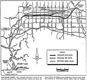 Proposed plan for Whitnall Freeway, Los Angeles Times, October 18, 1965
