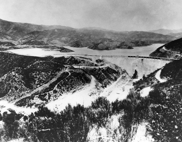 St. Francis Dam prior to its failure, ca. 1926 | Security Pacific National Bank Collection, Courtesy of the Los Angeles Public Library