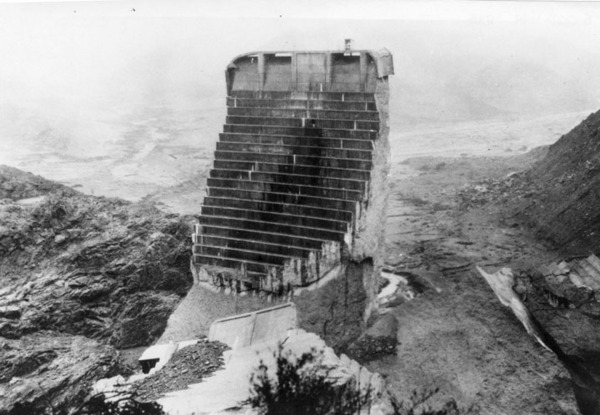 Remains of St. Francis Dam after its failure | Security Pacific National Bank Collection, Courtesy of the Los Angeles Public Library