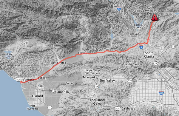 The path of the St. Francis Dam Flood, from the dam site to Ventura