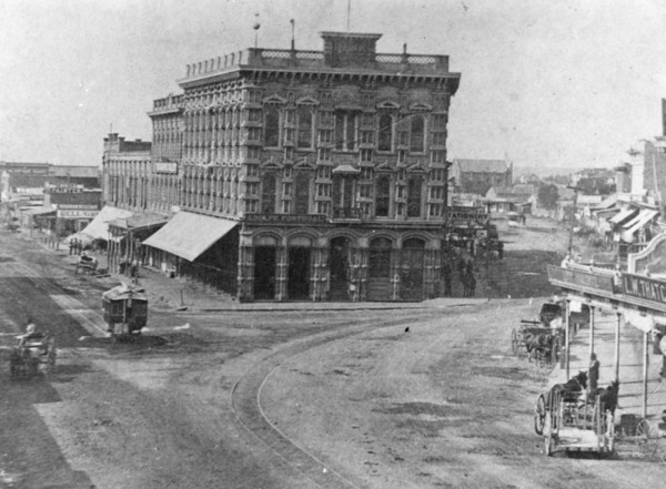 Temple Block at the junction of Main, Spring and Temple Streets, which housed Temple and Wokman Bank, ca. 1876 | Security Pacific National Bank Collection courtesy of the Los Angeles Public Library