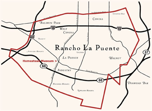Map of Rancho La Puente | Courtesy of the Workman Templse Homestead Museum