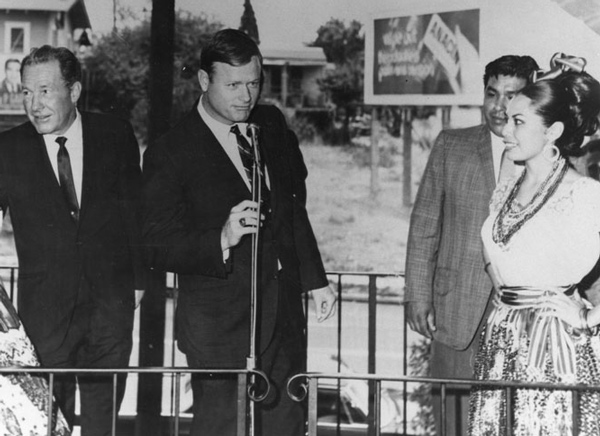 Councilmen Snyder at the opening of El Mercado, flanked by then Mayor Sam Yorty. 1968 | Courtesy of Los Angeles Public Library