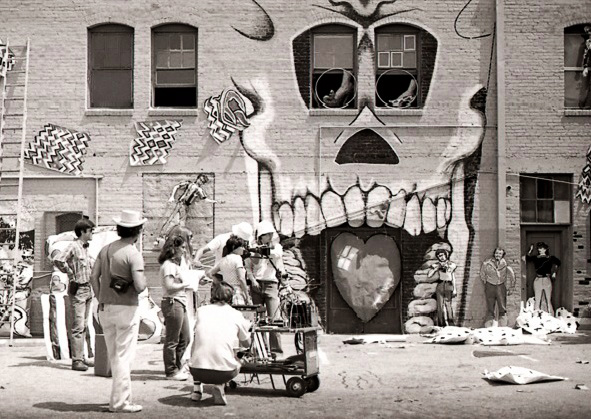 L.A. collective ASCO to be filmed for Mur Murs by Agnes Varda. Mural by Willie Herron. Self Help Graphics, June 14, 1980. | Photo: Courtesy of artist Diane Gamboa