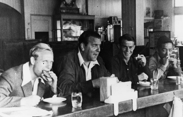 Sammy Lee (far right) at a lunch counter with coach Jim Ryan (center) and fellow divers. ca. 1940 | Image: Courtesy of Los Angeles Public Library
