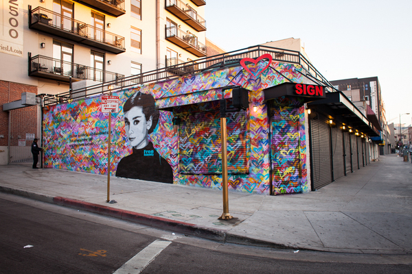 Erosion of native american culture subject of protest and for Audrey hepburn mural los angeles