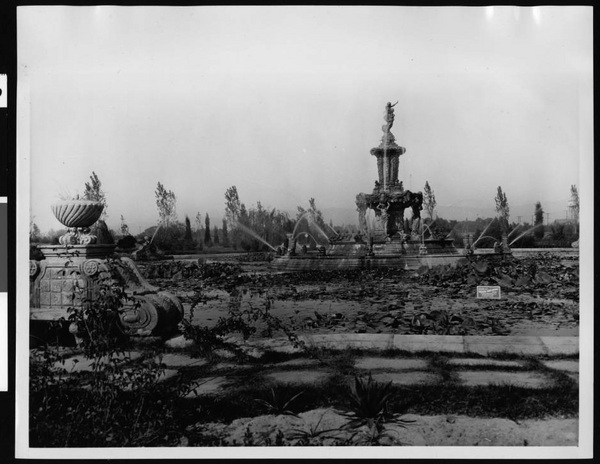 Fountain in Valhalla Cemetery, overgrown with lily-pads | California Historical Society Collection, USC Digital Library