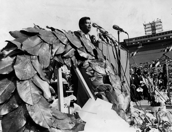 Labor leader & civil rights activist, Cesar Chavez pays tribute to King during memorial service, ca. 1968. Photo courtesy of the Los Angeles Public Library