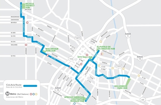 CicLAvia route for April 15, 2012