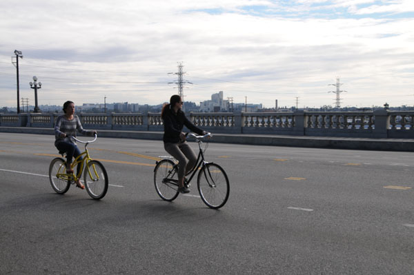 Riding on the Broadway Bridge