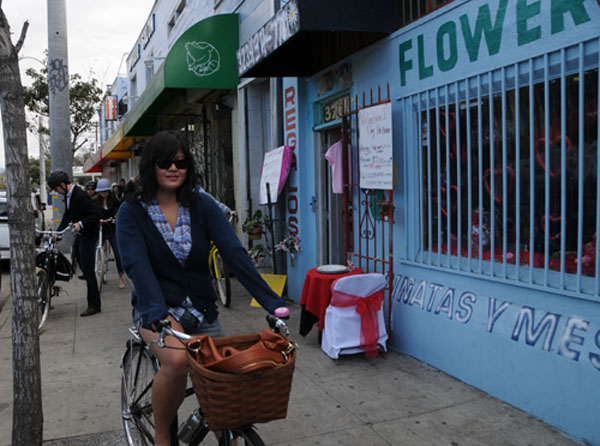 In front of the Flying Pigeon LA bicycle shop in Highland Park, January 15th 2012