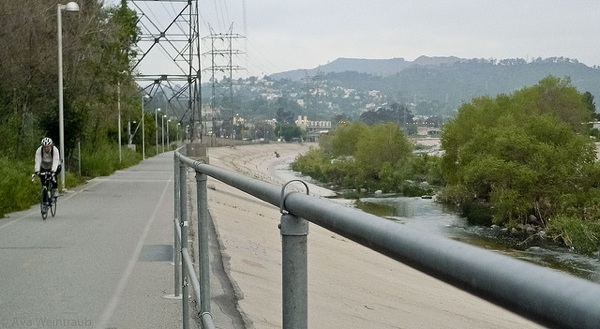Part of the bike path along the L.A. River