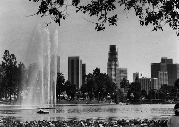 Construction of the U.S. Bank Tower (aka Library Tower), as seen from Echo Park, 1989. Photo courtesy of The Los Angeles Public Library.