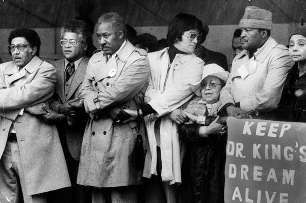 Officials observing Martin Luther King, Jr. Week in Pershing Square, ca. 1978. Photo courtesy of the Los Angeles Public Library