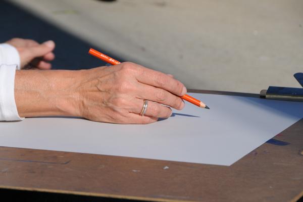 An HB pencil handled by Susan Stilton