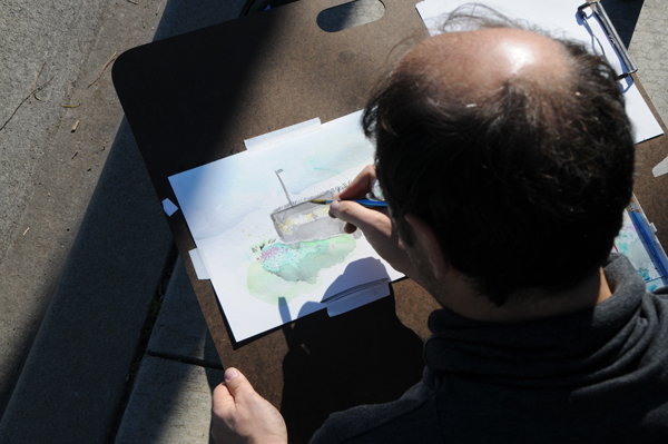A Watercolour study of the Air Force base
