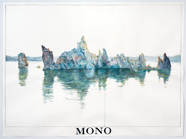 'South Tufa, Mono Lake at 7:12 AM, June 18th', 2013 | Watercolor by Rob Reynolds, photo by Robert Wedemeyer