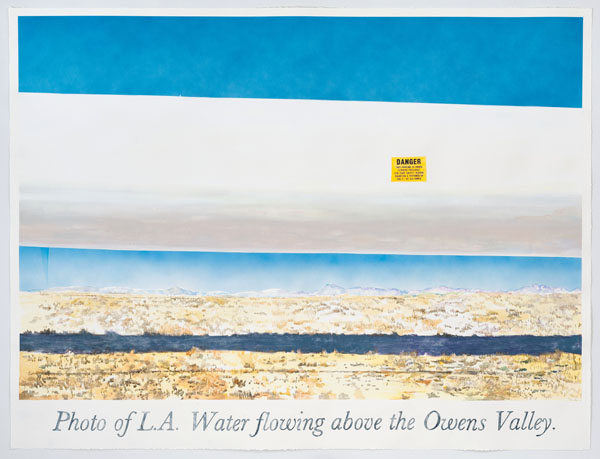 'Los Angeles Water Flowing Over the Owens Valley', 2013 | Watercolor by Rob Reynolds, photo by Robert Wedemeyer