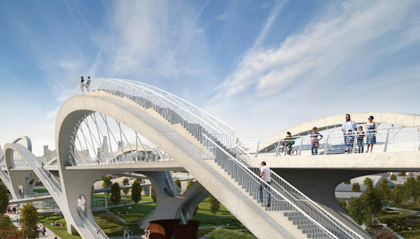Rendering of pedestrian path on the new Sixth Street Bridge